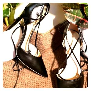 Just Fab Black Strappy Pumps